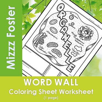 Organelles Word Wall Coloring Sheet