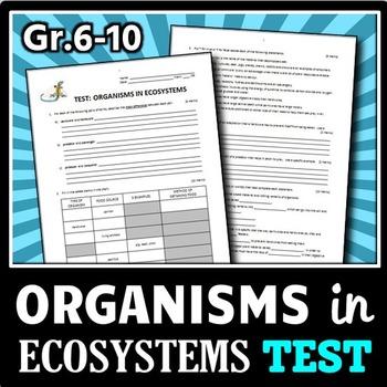 Organisms in Ecosystems - Test {Editable}
