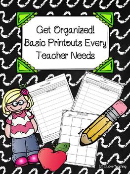 Organization Sheets for Teachers