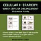 Cellular Hierarchy : Organization of Life Task Cards or Qu