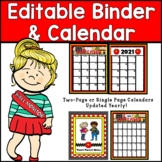 2016-2017  Editable Organizational Binder and Calendar Pag
