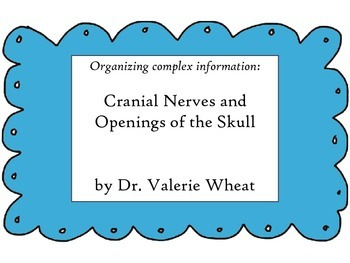 Organize information: Cranial Nerves and Skull Openings