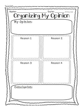 Organizing My Opinion Writing W.1 W.2