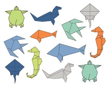 Origami Sea Clipart, Animal Clipart, Origami Sea Set #025
