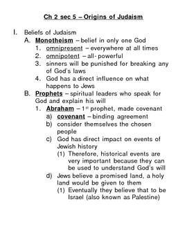 Origins of Judaism - Outline