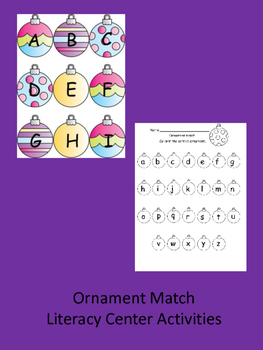 Ornament Matching Game - Literacy Center