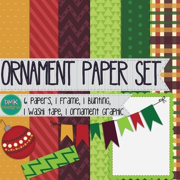 Digital Paper and Frame Set- Ornament