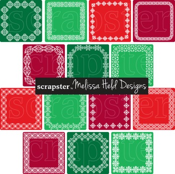 Clipart: Ornate Christmas Square Labels Clip Art