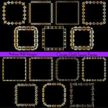 Clipart: Ornate Gold Square Frames Clip Art