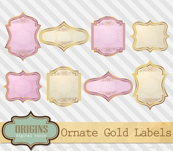 Ornate vintage pink and gold rustic shabby chic valentine