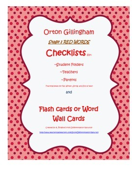 Orton Gililngham Stage 1 Red Words (HFW, Non-Decodable) Ch