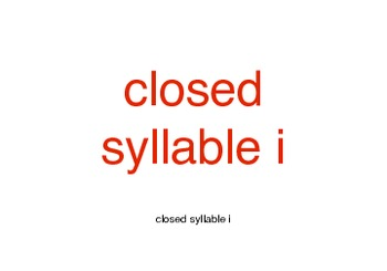 Orton-Gillingham Closed Syllable i cards