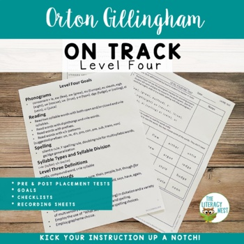 Orton-Gillingham Pre and Post Tests Leveled Placement LEVEL FOUR