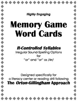Orton-Gillingham Reading Drill: Memory Match Game with R-C