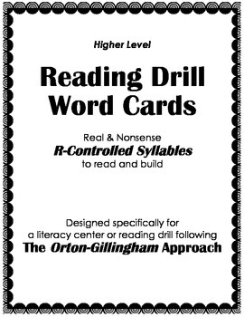 Orton-Gillingham Reading Drill: Syllable & Word Cards for
