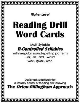 Orton-Gillingham Reading Drill: Word-Syllable Cards for Ir