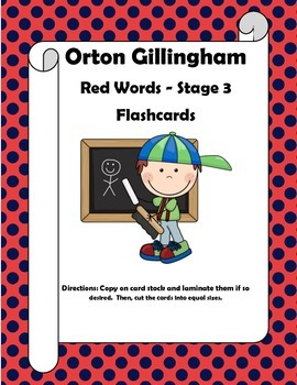 Orton Gillingham Red Words Stage 3 Flash Cards or Word Wal
