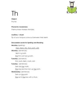 Orton Gillingham - Th Letter sounds - Dictation sheet - Le