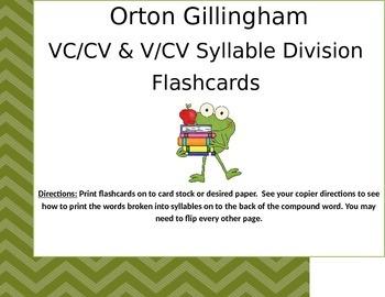 Orton Gillingham VC/CV & V/CV Compound Word Flashcards.