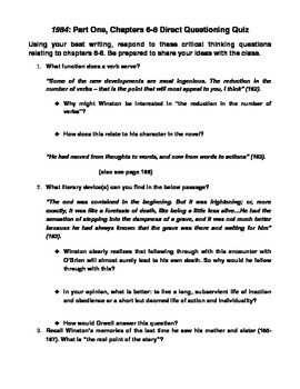Orwell's 1984: Chapters 6-8 Direction Questioning Quiz/Discussion
