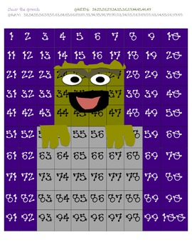 Oscar the Grouch Hidden Picture on 100 chart