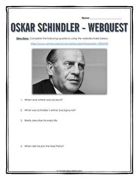 Oskar Schindler - Webquest with Key (Holocaust)