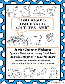Oso pardo (Brown Bear)- Spanish character flashcards, memo