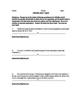 Othello Act 1 Quote Response Quiz