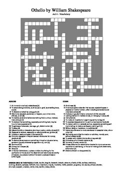 Othello - Act 4 Vocabulary Crossword