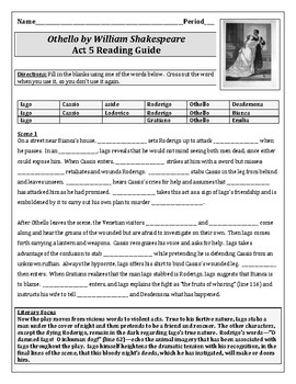 """Othello"" Act 5 Reading Guide"