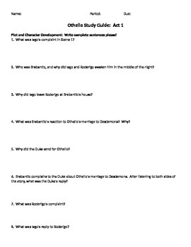 Othello Act by Act Study Guides:  Looking for Text Evidenc