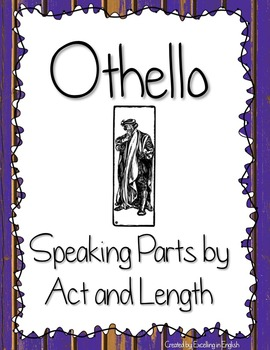 Othello Speaking Parts by Act, Scene, and Length! Easy Ass