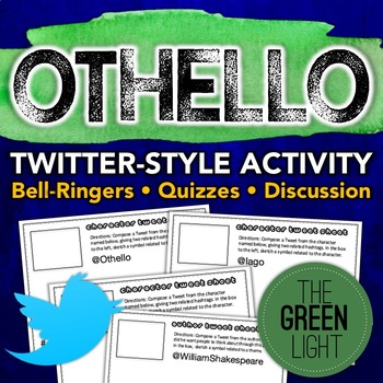 Othello Twitter-Style Task Cards: Bell-Ringers, Quizzes, D