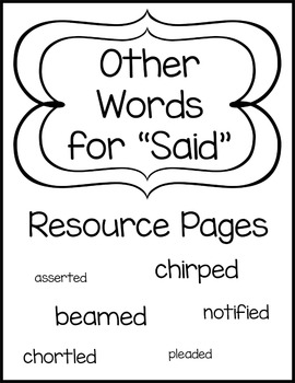 """Other Words for """"Said"""" Resource Pages"""