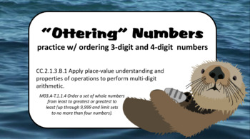 """""""Ottering"""" Numbers: Ordering 3-Digit Numbers {CCSS 2.1.3.B.1}"""