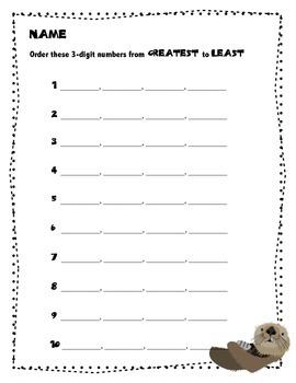 """""""Ottering"""" Numbers: Ordering 3-Digit Numbers Homework Bund"""
