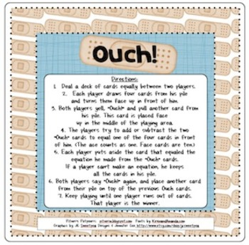 Ouch! A Fun Card Game for Math Facts