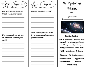 Our Mysterious Universe Trifolds - ReadyGen 5th Grade Unit