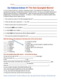 Our National Anthem Worksheet-Quizable!