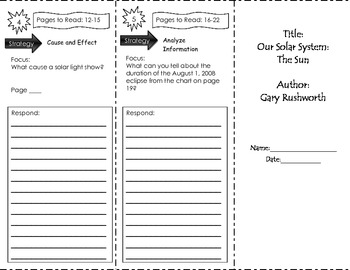 Our Solar System The Sun Unit 1 Trifold Benchmark Literacy