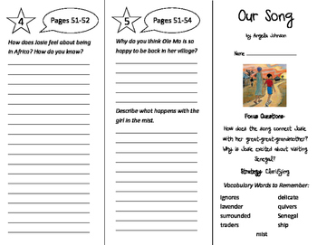 Our Song Trifold - Imagine It 5th Grade Unit 1 Week 2