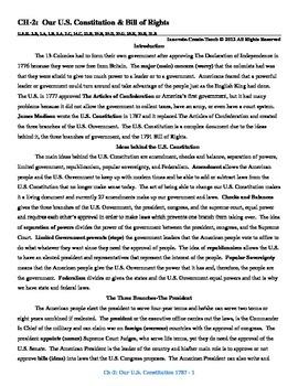 U.S. History STAAR Reader Ch-2: Our U.S. Constitution & Bi