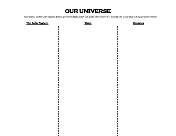 Our Universe Tri-fold Notes