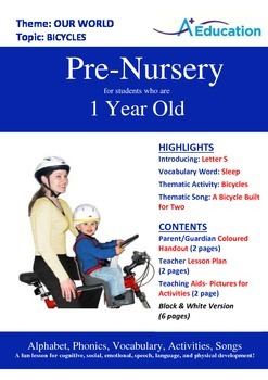 Our World - Bicycles : Letter S : Sleep - Pre-Nursery (1 y