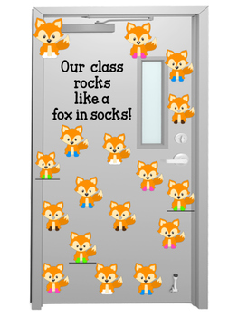 Our class rocks with fox in socks door display