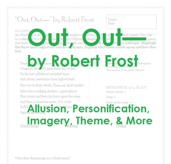 """""""Out, Out—"""" by Robert Frost; poetry, allusion, personifica"""