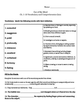 Out of My Mind Ch. 1-10 and Vocabulary Quiz