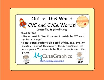 Out of This World CVC and CVCe Words