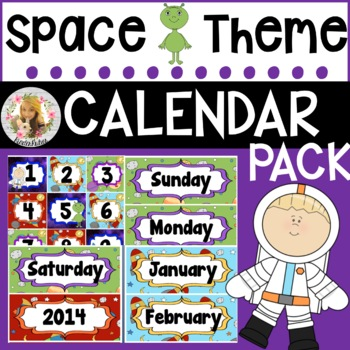 Out of This World Space Calendar Pack (numbers, days, mont