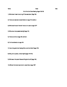 Out of the Dust Close Reading Questions Pages 153-193